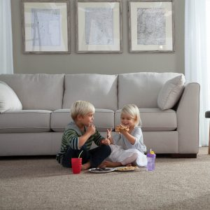 kids playing on carpet in living room