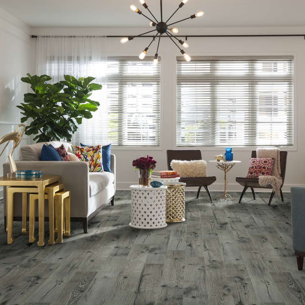 gray laminate in living room | Flowers Flooring
