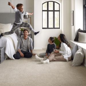 Family enjoying on Carpet | Flowers Flooring