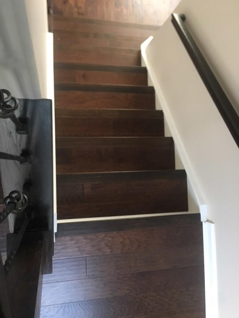 Wood Hardwood floor on stairs | Flowers Flooring