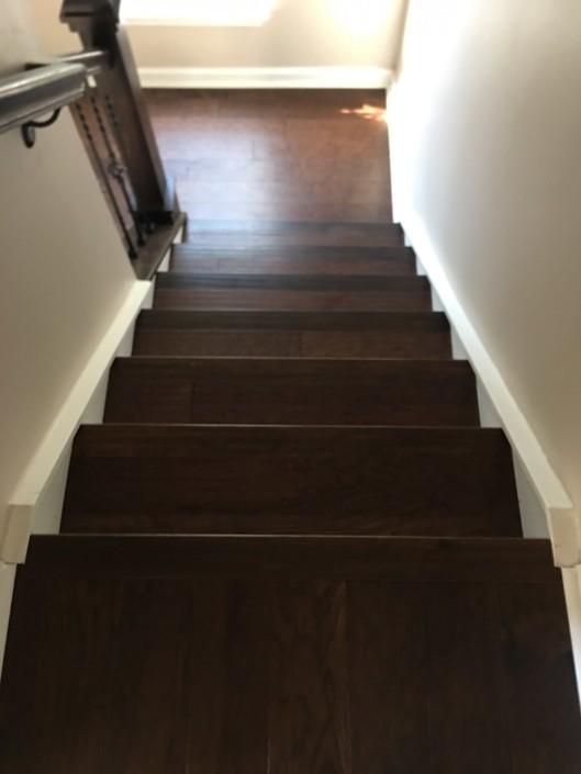 Hardwood flooring on stairs | Flowers Flooring