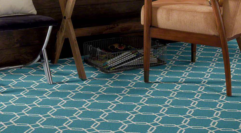 2018 flooring trends blue pattern area rug