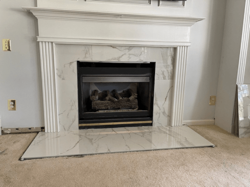 Tile flooring with fireplace | Flowers Flooring